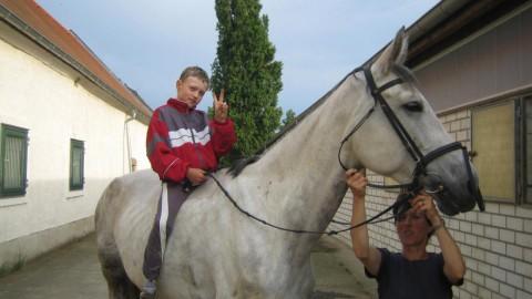 Bilder von einem kleinen Reiter auf einem großen Pferd
